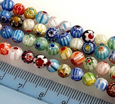 MIXED~ROUND~MILLEFIORY~GLASS BEADS~CHOOSE SIZE : 65 x 6 MM~50 x 8 MM~20 x 10 MM