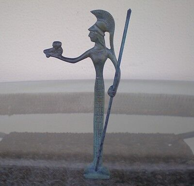 Goddess Athena With Spear&Owl Protector Of Athens Bronze Figure-Female Protector