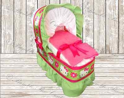 Hello Kitty Hot Pink and Green Diaper Bassinet/Centerpiece/Baby Shower/Gift