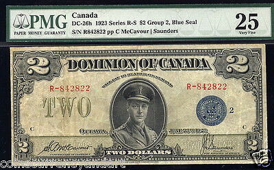 Dominion Of Canada $2 1923 DC-26h Blue Seal Graded As PMG 25