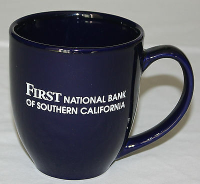 Mug First National Bank of Southern California Cobalt Blue Curved Coffee 12 oz
