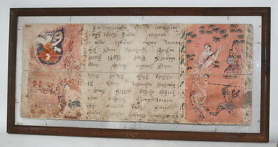 Buddhist Monk Bible page artwork hand painting large antique Buddha Temple OLD !