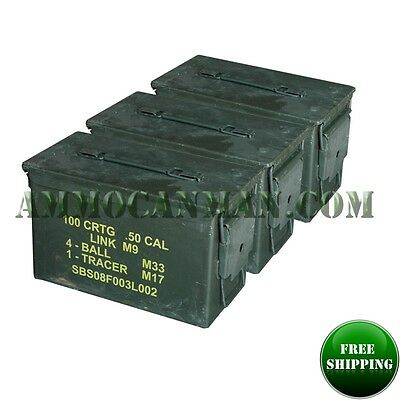 3-PACK! THREE 50 CAL GRADE 1 AMMO CANS M2A1 5.56 EMPTY AMMUNITION CANS