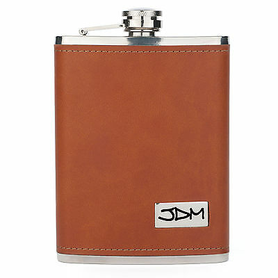 Engraved 8oz Brown Leather Wrapped Stainless Steel HIP FLASK PERSONALIZED