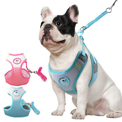 Step-in Soft Mesh Dog Harness and Leash for Dogs Walking Pink Blue S M L XL XXL
