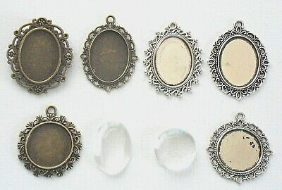 Bronze Silver Cabochon Cameo Settings Charm Clear Glass Dome 25x18mm 20mm