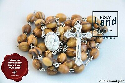 Olive Wood Beads Rosary Necklace Holy Land Soil And Cross - Made In Nazareth