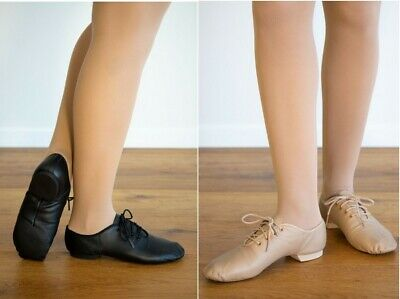 JAZZ DANCE SHOES - SPLIT SOLE LACE UP - BLACK or TAN Childs US11 to Adults US8.5