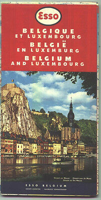 1958 Esso Belgium and Luxembourg Vintage Road Map