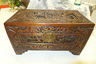 Antique Wooden Hand Carved Yu Ting Good Luck Chest, Hong Kong