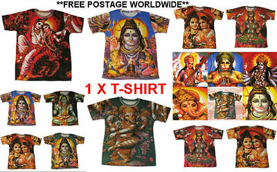HINDU GOD T-SHIRT/ SPAGHETTI indian INDIA god goddess hippy Ganesh LAXMI