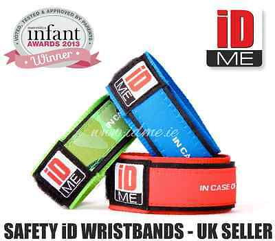 Kids Medical iD Bracelet Safety ID wristband Vital Info Events. Travel.School ID