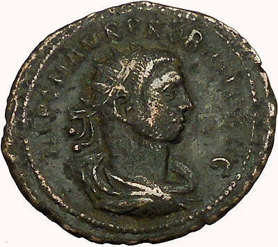 Probus receiving globe  from Jupiter  281AD Ancient Roman Coin i35359