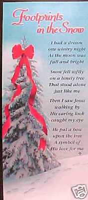 20 FOOTPRINTS IN THE SNOW BOOKMARKS 87% OFF = 20 GIFTS for JUST $5.00 (25 CENTS)
