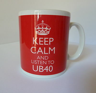 Keep Calm and Listen To UB40 Mug Carry On Retro Style Gift Present Cup Music