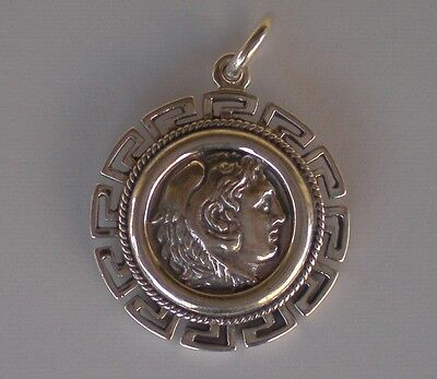 Alexander The Great Hercules Silver Coin Pendant - Meander - Macedonia King