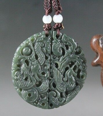 A pair of lover's ancient China jade hand-carved dragon and phoenix pendant