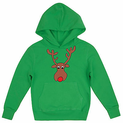 Rudolph The Red Nosed Reindeer Festive Girls Novelty Childrens Christmas Hoodie