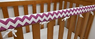 1 x Baby Cot Rail Cover Crib Teething Pad - Purple Chevron 100% Cotton *REDUCED*