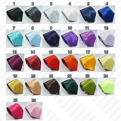 Mens Classic Plain Neck Ties - New Formal Wedding Solid Satin Necktie Tie - New