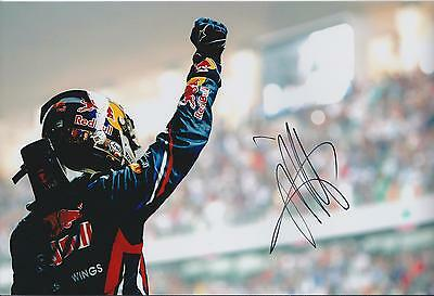 Sebastian VETTEL Rare SIGNED CHAMPION 12x8 Photo Red Bull AFTAL Autograph COA