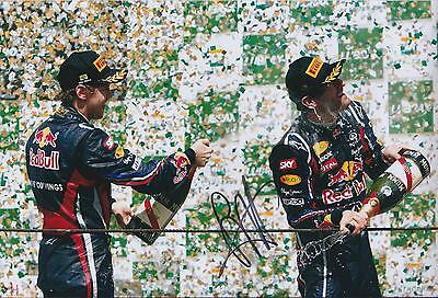 Sebastian VETTEL SIGNED Team Podium WIN 12x8 Photo Red Bull AFTAL Autograph COA
