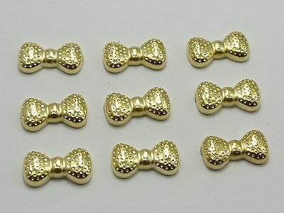 100 Gold Tone Acrylic Flat back Bowknot 12X6mm No Hole Cabochon Phone DIY Deco