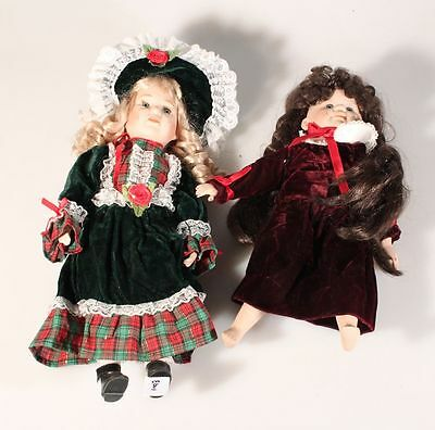 Set Of Two Vintage Christmas Season Dolls W/ Full Outfit   Hair