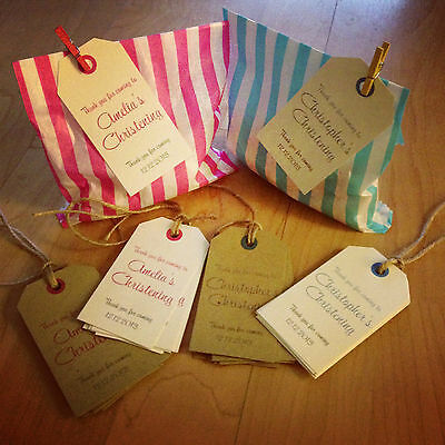 12 Personalised Vintage Baby Christening Favour Tags, for sweets/candy buffet