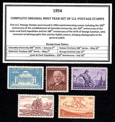 1954 Complete Year Set Of Mint -Mnh- Vintage U.s. Postage Stamps