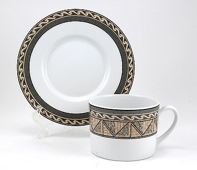 Studio Nova COURTYARD Y0281 Flat Cup and Saucer Set 2.375 in. Black Gray Taupe
