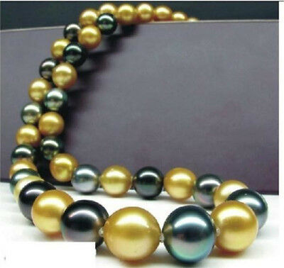 "HUGE 18""10-13MM NATURAL SOUTH SEA GENUINE GOLD BLACK PERFECT PEARL NECKLACE 14K"