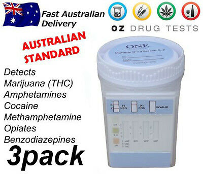 3x URINE DRUG TESTING CUPS, DRUG TEST, DRUG SCREEN, AUSTRALIAN STANDARD, 6 PANEL