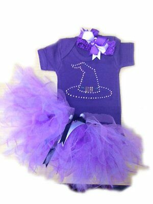 Purple Tutu Skirt Bling Witch Vest Top Toddler Baby Fancy Dress Halloween Gothic