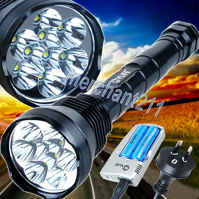 15000Lm 9x CREE XM-L T6 LED Flashlight Torch Lamp Work Light Charger 18650 26650