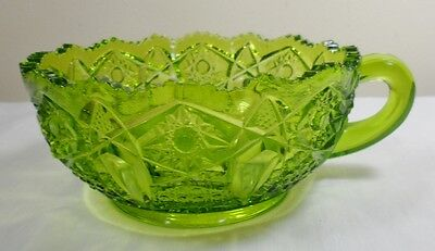 VTG L.E. Smith Green Pressed Glass Quintec Button Handled Nappy Candy Dish Bowl
