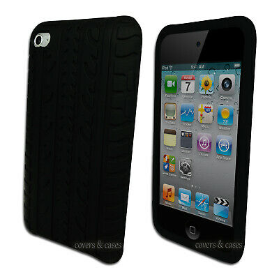Black Tyre Tread Case for iPod Touch 4 4th GEN 4G Silicone Rubber Cover