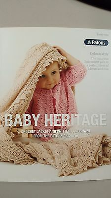 Patons Pattern Book #0004 Baby Heritage Pattern Crochet Jacket & Knitted Shawl