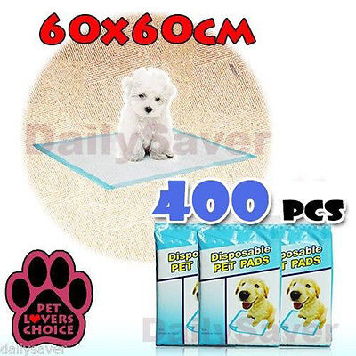 400pcs Puppy Pet Dog Cat Training Pads 60x60cm Super Absorbent Wee Loo Toilet