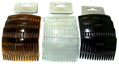 Pack of 4 Plain Hair Combs Slides Side Combs 7cm Black Tort or Clear