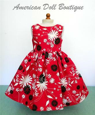 """Fits 18"""" American Girl Doll Clothes - Handmade Red, Black & Ivory Flower Dress"""