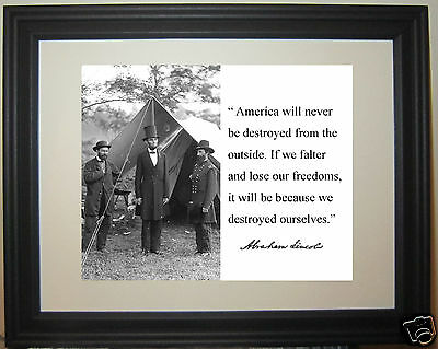 """Abraham Lincoln """" America..."""" Autograph Quote Framed Photo Picture # wn1"""