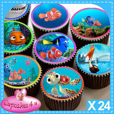 24 X Finding Nemo Characters Edible Cupcake Toppers Premium Rice Paper C3502