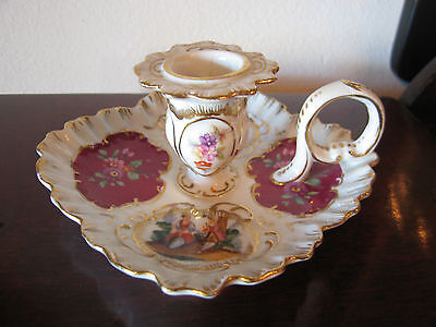 Vintage Likely European Porcelain Ring Handle Candle Holder w/ Painted Figures