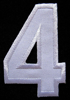 NUMBER FOUR NO.4 #4 White Embroidered Iron on Patch + Free Shipping