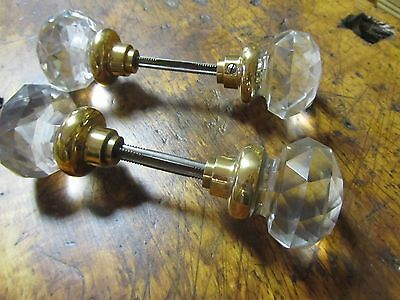 Antique Cut Crystal door knob sets, rare cut glass