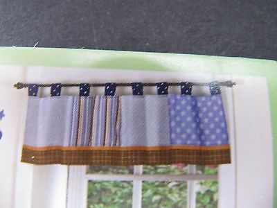 CoCaLo MONKEY MANIA WINDOW VALANCE   PATCHWORK BLUES AND BROWNS NWT