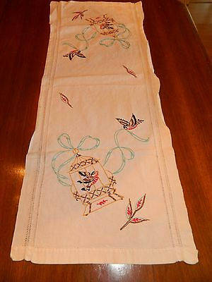 Vintage Hand embroidered table runner BIRDS IN CAGE Long STUNNER