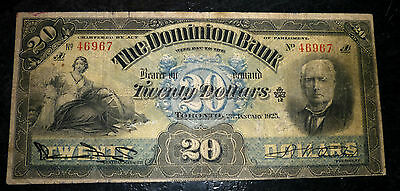 1925 The Dominion Bank $20  * * * *  * Really beautiful Large Canadian Banknotes