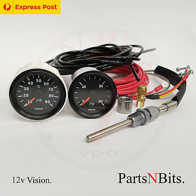 VDO 12v PYROMETER PYRO EGT GAUGE KIT AND 30 PSI BOOST + LINE KIT, SUIT PATROL